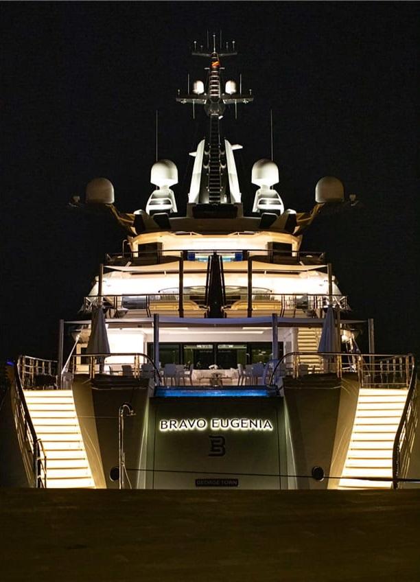 super yacht at night
