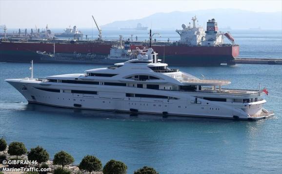 super yacht in dock