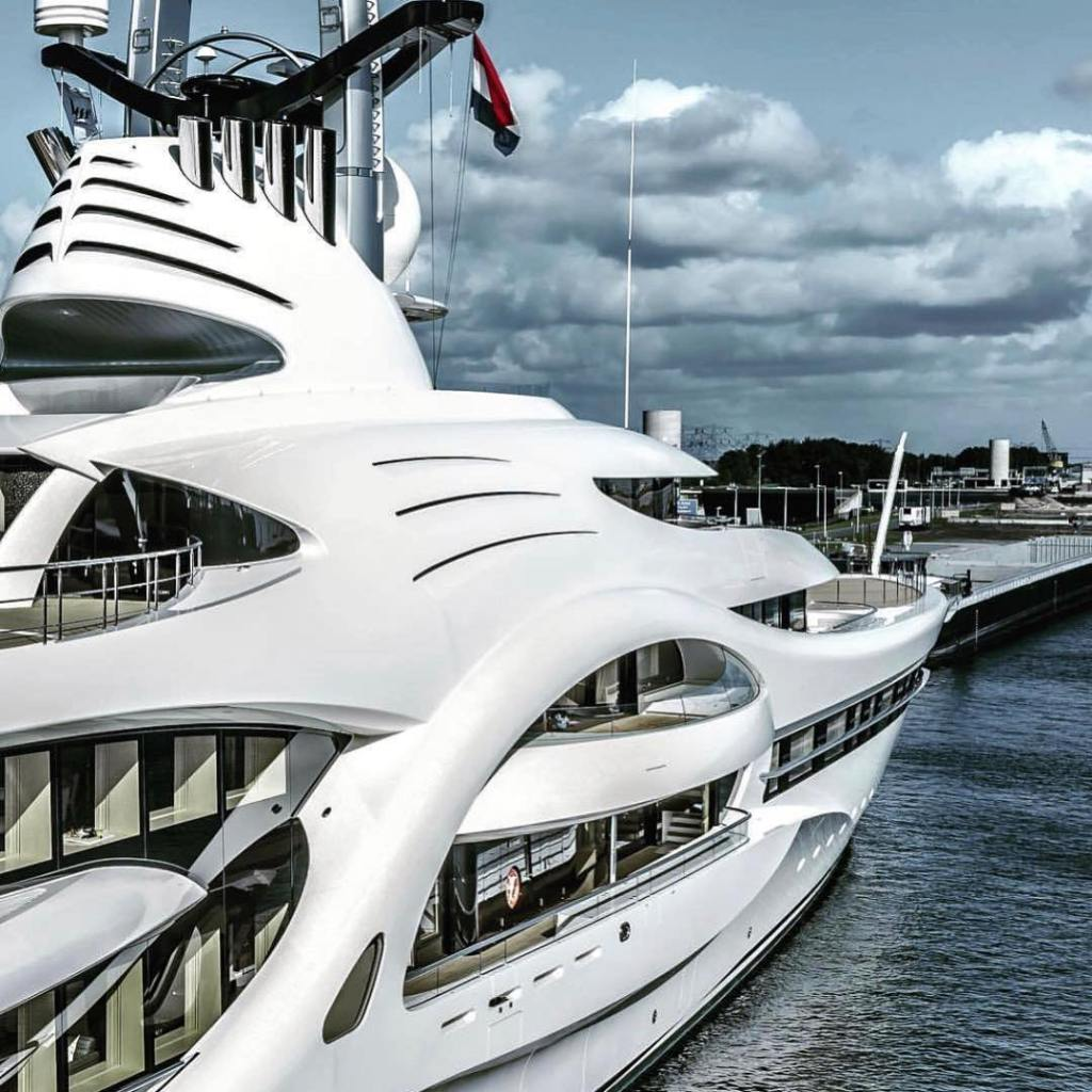 beautiful hand made exterior design of decks on super yacht anna