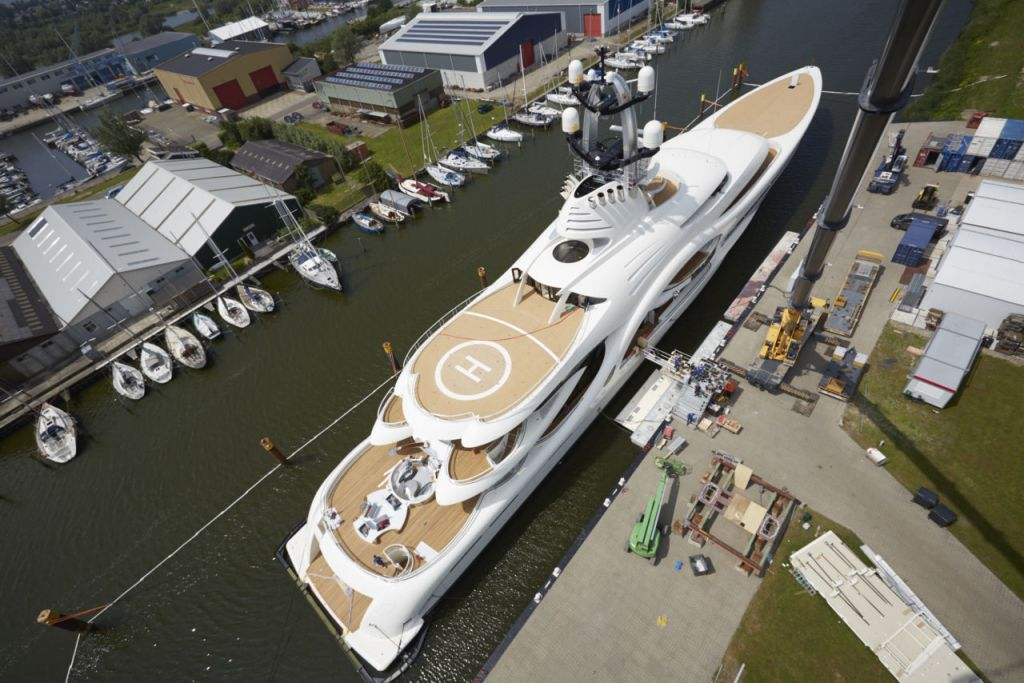 anna yacht picture taken from air with helipad deck