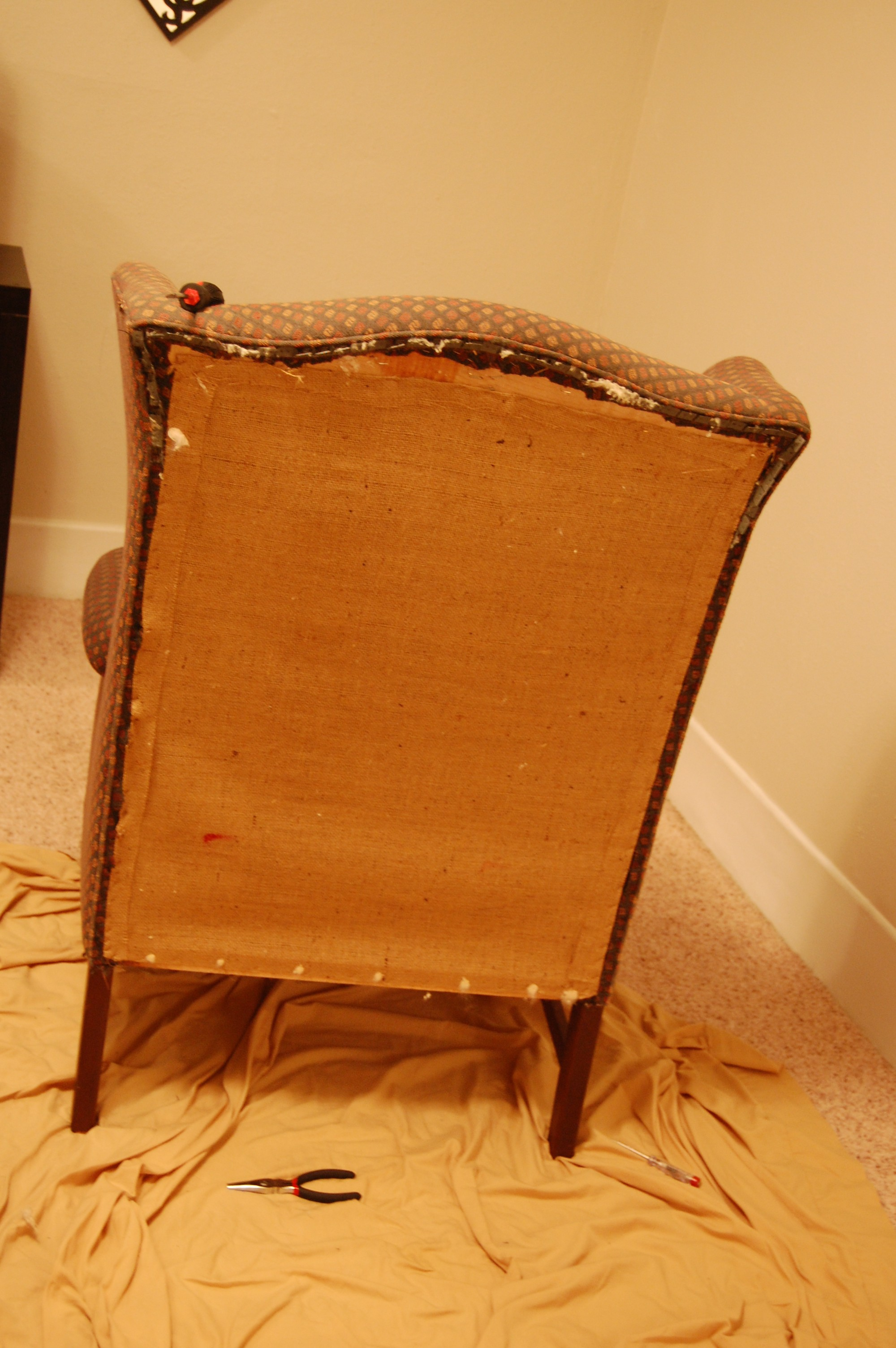 How To Reupholster A Wingback Chair DIY Project Aholic