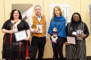 Left to right: me, Rod Duncan, Emmi Itaranta, Jennifer Marie Brissett. Jenn is holding the special citation, I'm holding the PKD.
