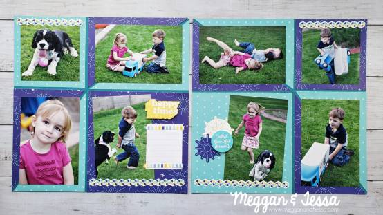two page scrapbook layout by meggan jacks from august 2021 scrapbook power hour class made with creative memories products