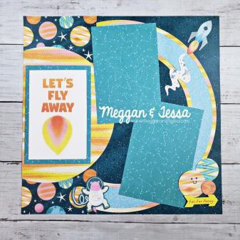 Single page scrapbook layout using creative memories jumbo circle custom cutting system template and the outta this world collection