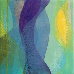 """Glimpse"" by Meghan MacMillan, acrylic on birch, 10 x 10"" 2014"