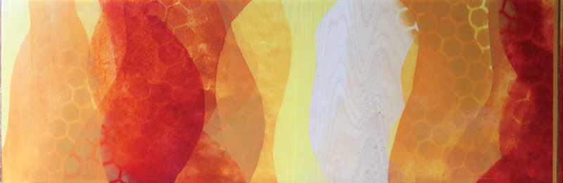 """How Sweet (the Sound)"" by Meghan MacMillan, acrylic on birch, 12x36"", 2014-15"