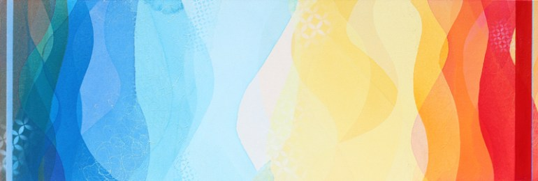 """""""Save It For Tomorrow"""" Acrylic painting by Meghan MacMillanon canvas, 20 x 60"""", 2014-15."""