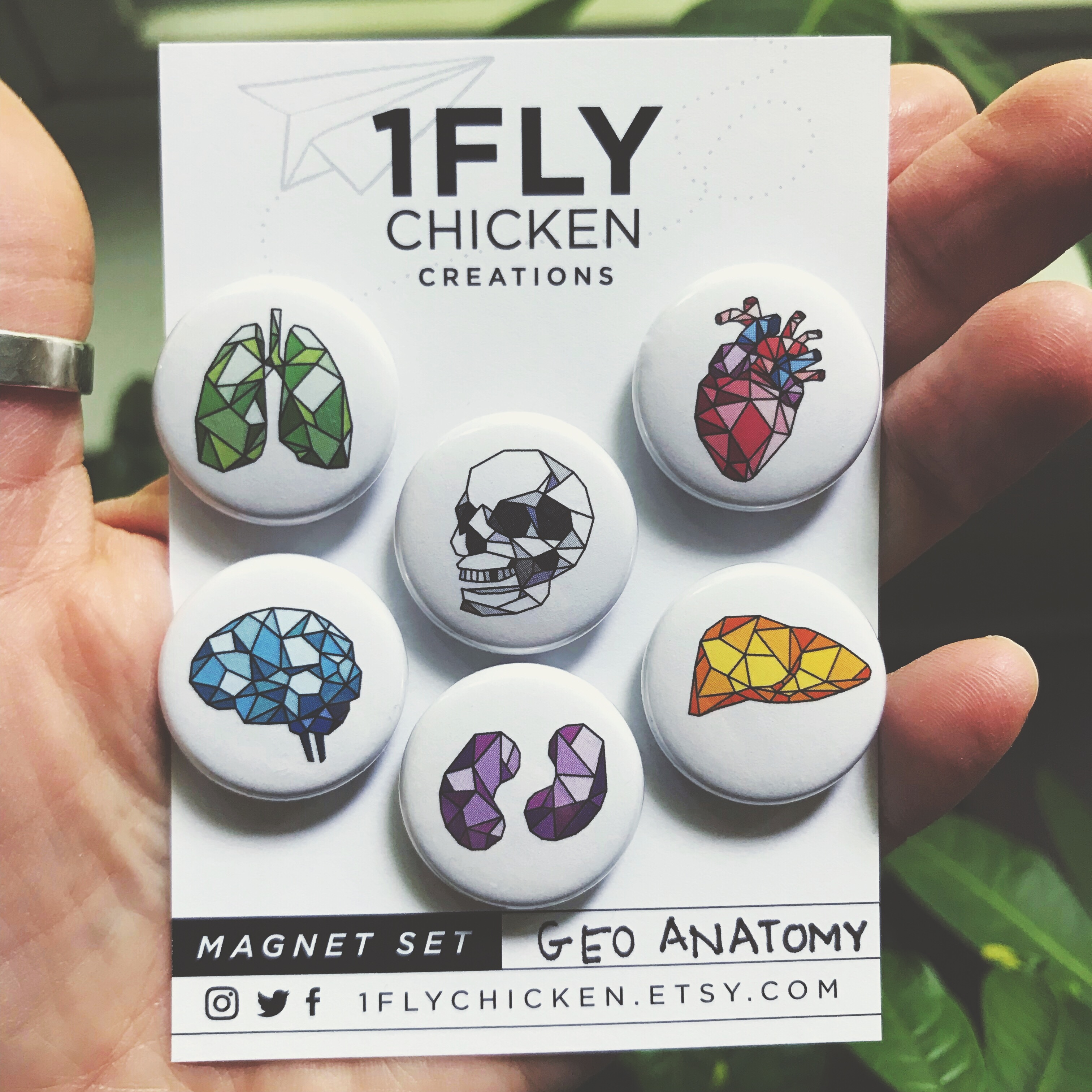 Handmade button magnets and pins by 1flychicken creations