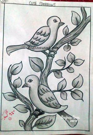 shading pencil sketch drawings sparrows simple done drawing birds meghnaunni basic own meghna unni