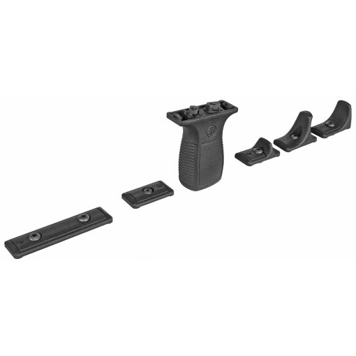 Sig Sauer TREAD Vertical Grip Kitincluding: vertical grip, barricade stop, handstop, long & short M-LOK Rail sections. M-LOK connectors and mounting hardware included.