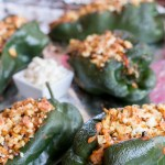 Stuffed Goat Cheese and Veggie Poblano Peppers ready to serve with the Mexican Corn Salad