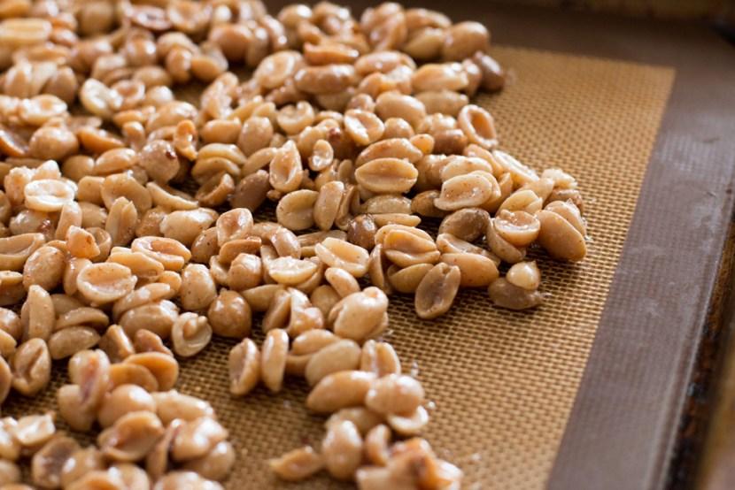 Un-roasted seasoned peanuts.