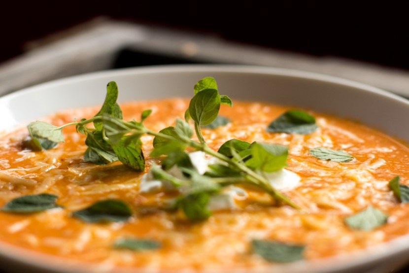 Fresh oregano in Fire Roasted Tomato Soup
