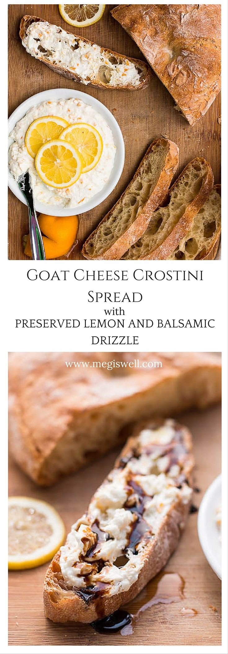 Goat Cheese Crostini Spread with Preserved Lemon and Balsamic Drizzle looks and sounds impressive but is a quick and easy appetizer that is perfect for spring picnics.