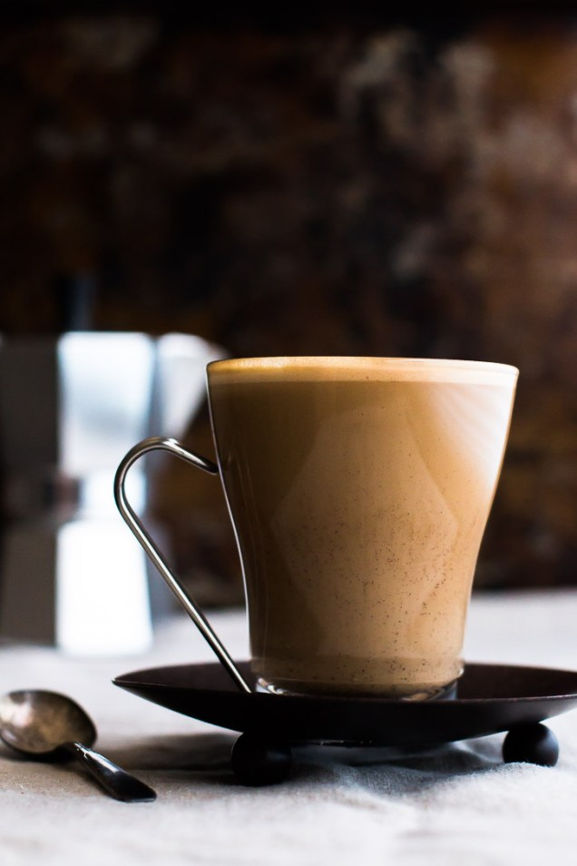 This Chocolate Liqueur Maple Peanut Butter Latte is a great after dinner digestif drink. The sweet maple and peanut butter syrup and chocolate liqueur pair extremely well with espresso or strongly brewed coffee, and creates the sweet end that every meal needs. This post is sponsored by Drizly.   www.megiswell.com