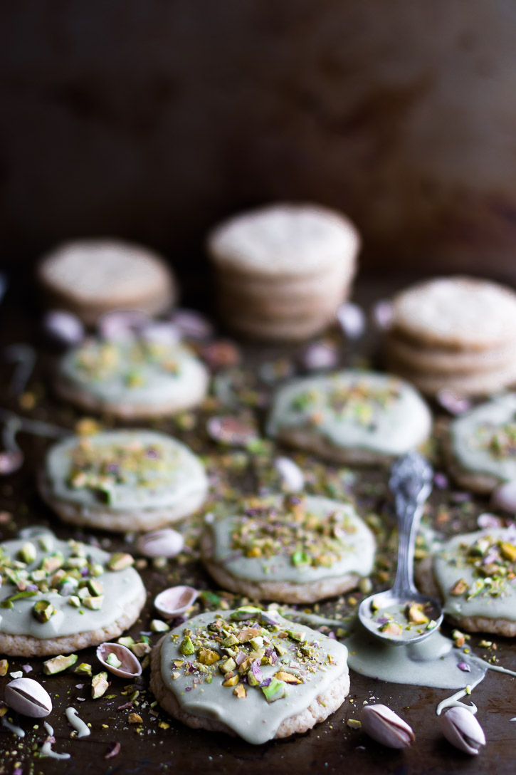 These Matcha Frosted Sugar Cookies are soft, sweet, and romantic in both taste and looks, making them perfect for Valentine's Day. They're all the sweeter for being both extremely easy to make and vegan. | www.megiswell.com