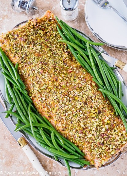 25 Recipes That Use Pistachios - Pistachio Crusted Salmon from Sweet and Savory Pursuits