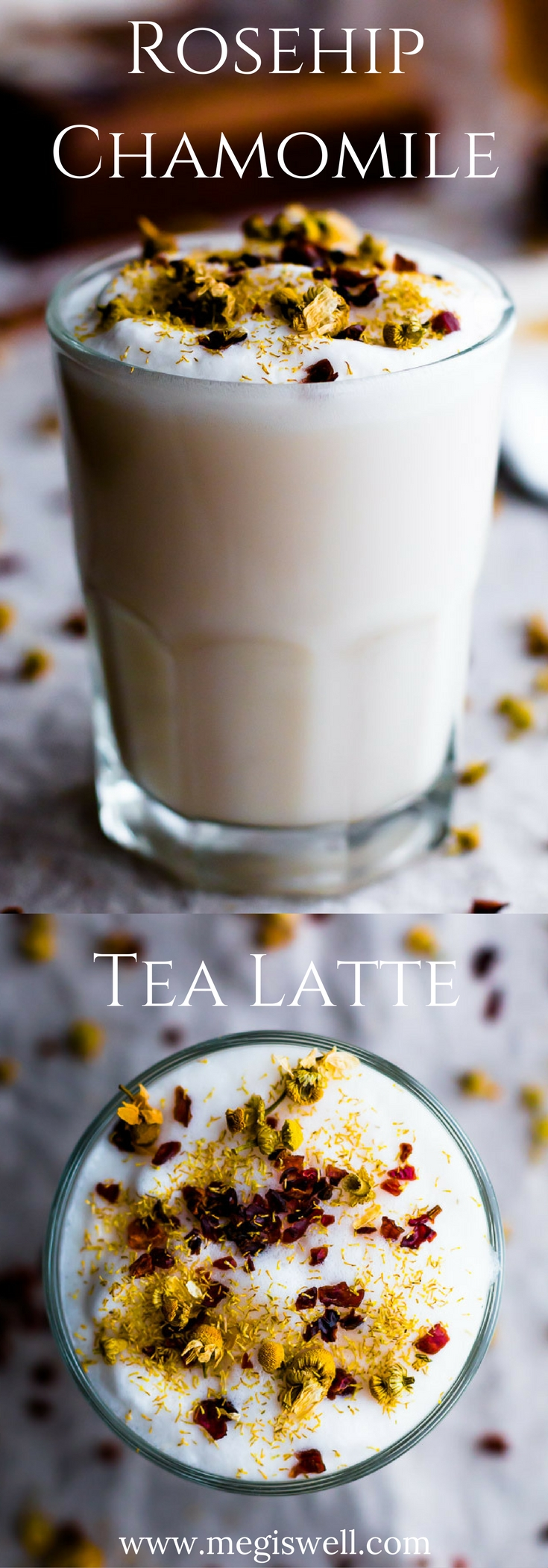 This Rosehip Chamomile Tea Latte is a floral and herbal twist on the London Fog. It's meant to soothe and calm the body and mind, making it perfect for dreary weather snuggle time! | www.megiswell.com