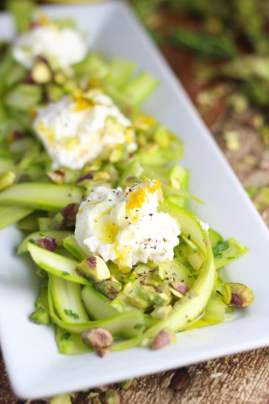25 Recipes That Use Pistachios - Shaved Asparagus Salad with Ricotta and Pistachios from Platings and Pairings