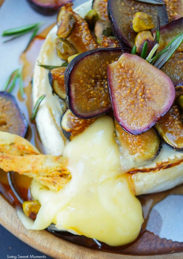 25 Recipes That Use Pistachios - Honey Baked Brie with Figs and Rosemary from Living Sweet Moments
