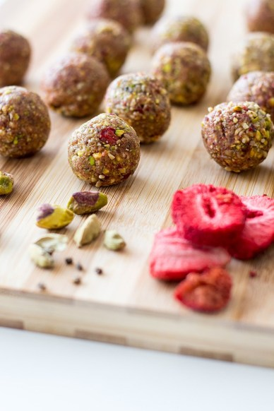 25 Recipes That Use Pistachios - Pistachio, Cardamom and Strawberry Bliss Balls from Quite Good Food