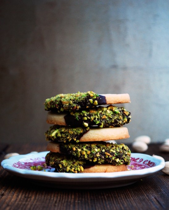 25 Recipes That Use Pistachios - Secretly Spicy Pistachio and Chocolate Dipped Shortbread Cookies from The Live-In Kitchen