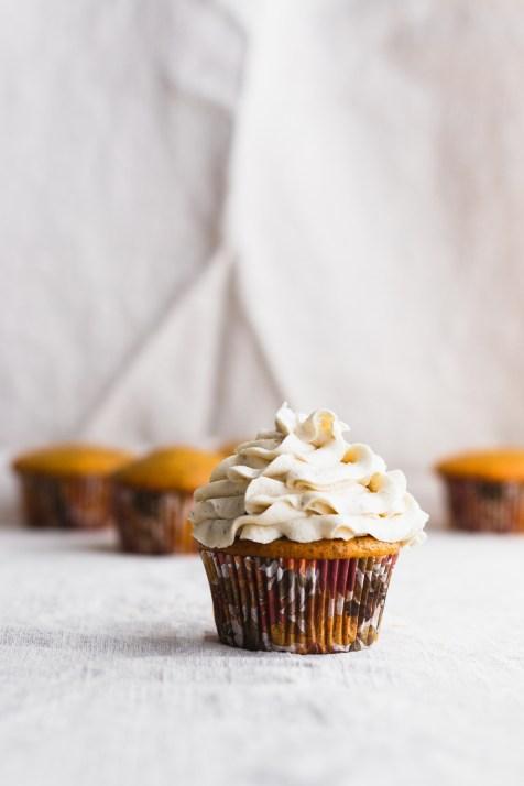 Pumpkin Cupcakes with Brown Butter Salted Caramel, Tahini Sage Buttercream, and Caramel Corn #fall #pumpkin #cupcakes | www.megiswell.com