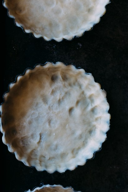 Close up overhead shot of one uncooked tart crust.
