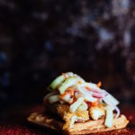 Chicken Tenders and Waffles with Vietnamese Caramel Sauce and Pickled Veggies is not your typical Southern fried chicken. It's baked not fried and is spicy, sweet, and savory with a cool and crisp bite. And it's a perfect savory option for a waffle bar. #waffles #chickenandwaffles #chickentenders #brunch #breakfast #mothersday #bridalshower