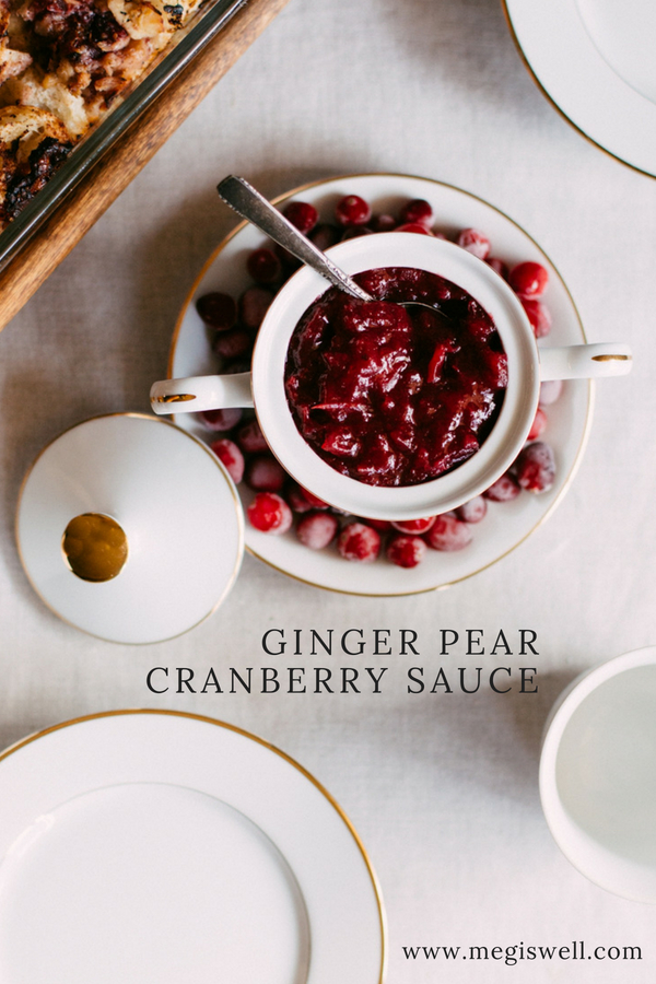 This Ginger Pear Cranberry Sauce gets its sweetness from honey, pears, and apples and its tart kick from ginger and cranberries. #holiday #Thanksgiving #Christmas #fall #winter #appetizer #side #cranberrysauce | www.megiswell.com