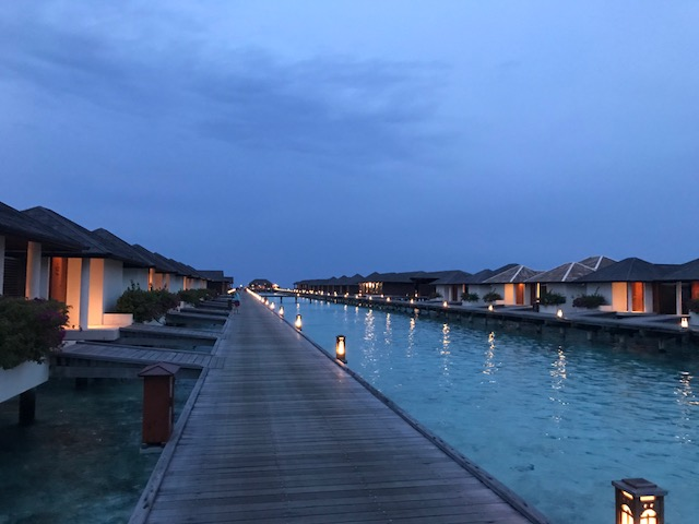 Night view of the resort at Maldives.