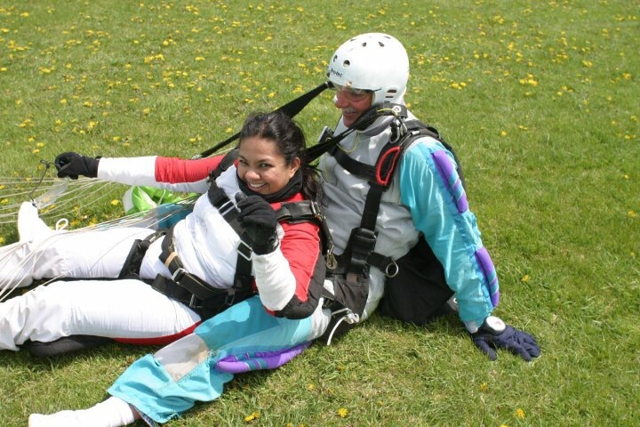 Happy landing while skydiving.