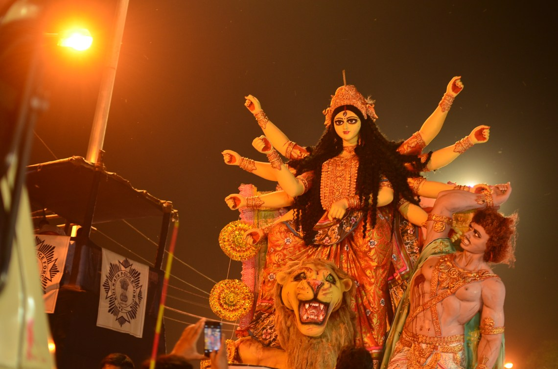 Maa being carried for Immersion.