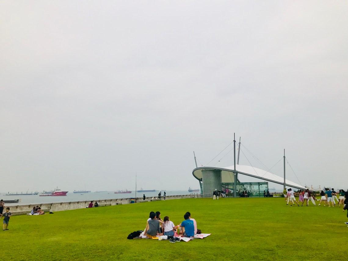 People enjoying picnic at Marina Barrage.