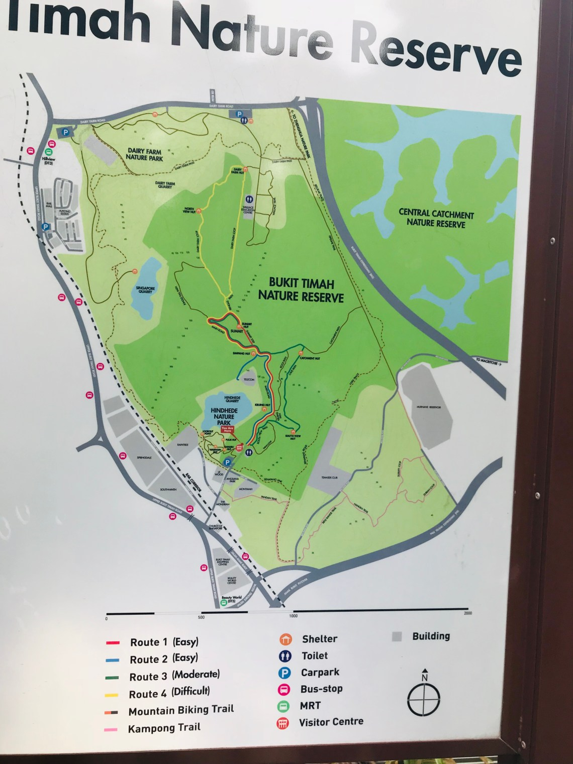 The map for the different routes in the Bukit Timah trail.