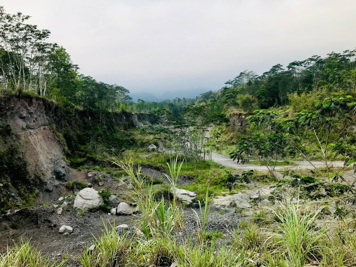The destrunction and the volcanic lava.
