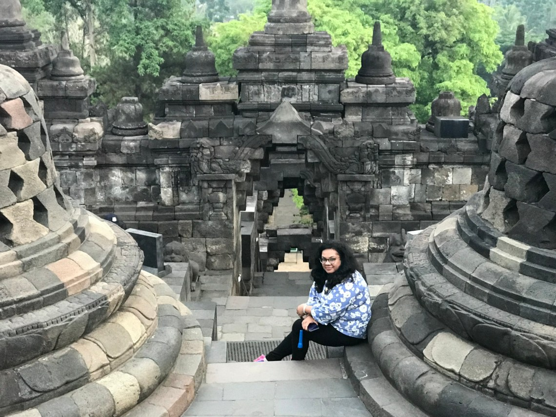 Wonderful structure of Borobudur Teample. Stairs leading to different levels.