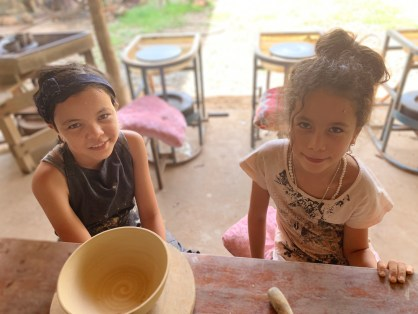 The lovely girls who actually taught us pottery along with thir mother.