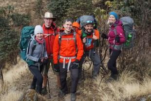 Jolly members of a Latvian hiking club, met along the way