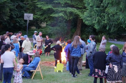 Just before the young men started jumping over the fire!