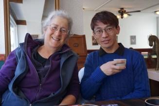 Cary and Shawo enjoying tea