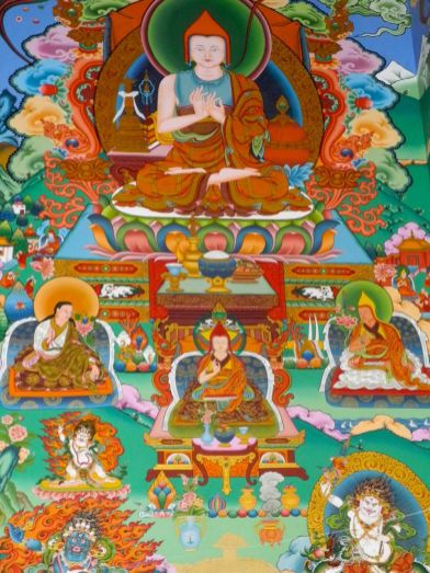One of many tapestries in every temple