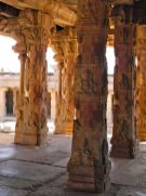 The intricate carvings are different on each pillar