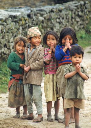 Nepalese children on the Kangchenjunga trek