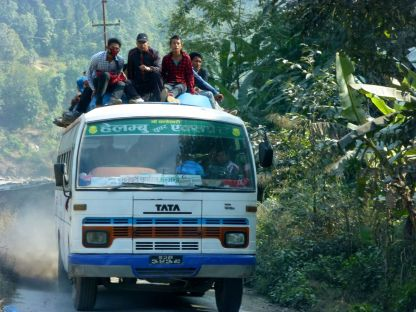 Once strictly forbidden, now passengers can ride on top, due to the shortage of buses.