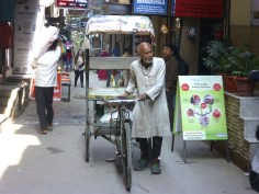 Bicycle rickshaws are used to carry heavy luggage from the taxi to the guest houses.