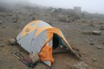 Believe me, it's cold. Our solitary little tent, third night….