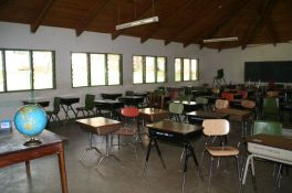 Classrooms are equipped with energy-saving lights.