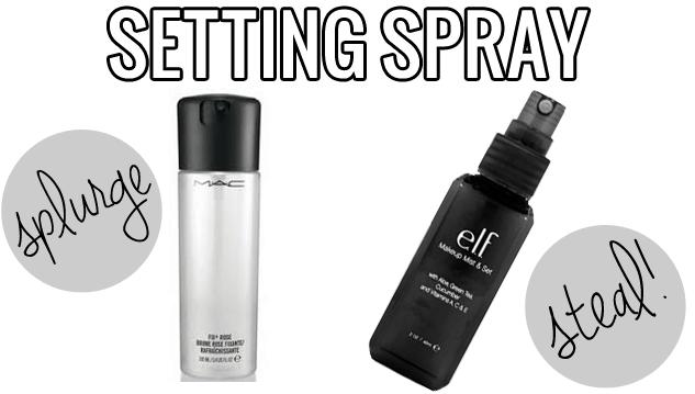 makeup dupes, Splurge steal beauty setting spray, Mac Fix Plus vs. ELF Makeup Mist and Set, MAC Fix Plus dupe