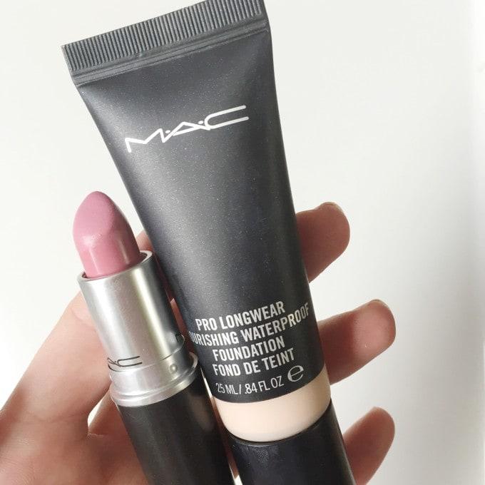 mac pro longwear nourishing waterproof foundation and snob lipstic